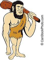 neanderthal, club, homme cavernes, tenue, dessin animé, homme