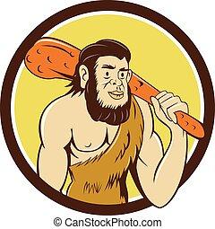 neanderthal, club, presa a terra, cerchio, cartone animato, uomo