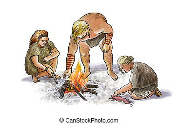 Neanderthal family - Digital illustration of a group of ...