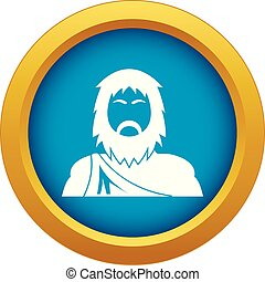 Neanderthal icon blue vector isolated on white background ...