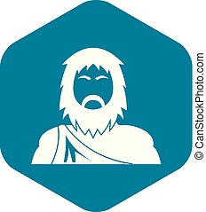 Neanderthal icon, simple style - Neanderthal icon. Simple ...