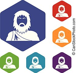 Neanderthal icons vector hexahedron - Neanderthal icons ...