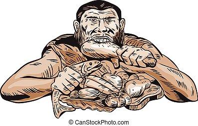 Neanderthal Man Eating Paleo Diet Etching