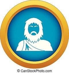 neanderthale, ikon, kék, vektor, elszigetelt
