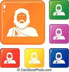 neanderthale, ikonok, állhatatos, vektor, szín