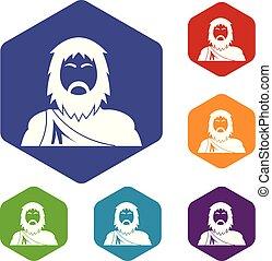 neanderthale, ikonok, vektor, hexahedron