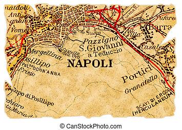 neapol, albo, napoli, stary, mapa