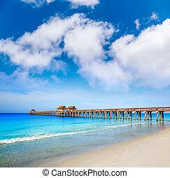 neapol, molo, i, plaża, w, floryda, usa