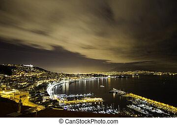 neapol, zatoka, przez, noc