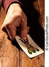 Neapolitan Card - Hand Holding a Neapolitan Playing Card,...