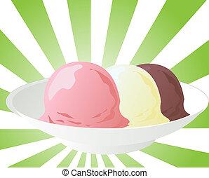 Neapolitan ice cream - Illustration of neapolitan gelato ice...
