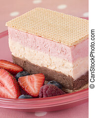 Neapolitan Ice Cream with Wafer Biscuits and Berries