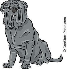 neapolitan, mastiff, chien, dessin animé, illustration