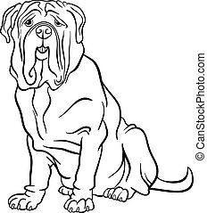 neapolitan mastiff dog cartoon for coloring - Black and...