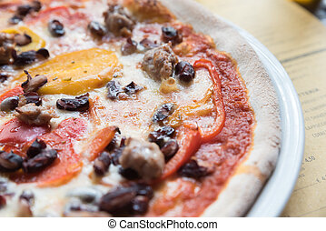 Neapolitan pizza sausage with peppers and mushrooms