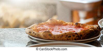 Neapolitan pizza without mozzarella.