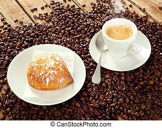 Neapolitan Sfogliatella frolla with espresso