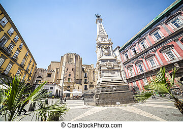 Neapolitan square with a monument in the center, Italy,...