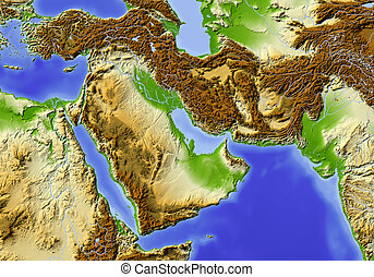 Near East from Egypt to Pakistan. Shaded relief map, colored according to elevation.