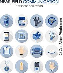 Near Field Communication Technology Flat Icons Set