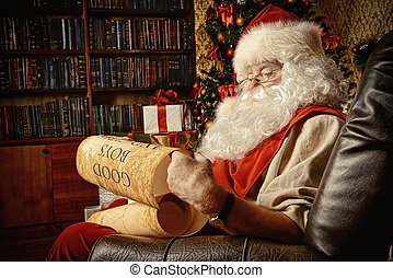 near fireplace - Santa Claus dressed in his home clothes...