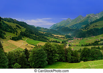 Beautiful landscape near the town of Gruyeres in the canton of Fribourg, Switzerland
