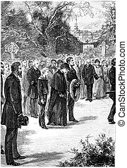Near her, walked the young novice, vintage engraving. - Near...