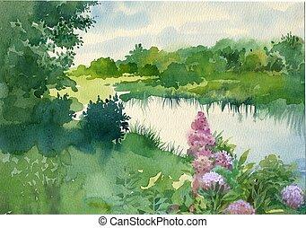 Near the River - Watercolor Landscape Collection: Near the...