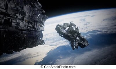 nearing, étranger, vaisseau spatial, armada, la terre