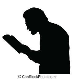 Nearsighted man reading from book - Nearsighted man with...