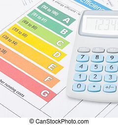 Neat calculator with energy efficiency chart - studio shot