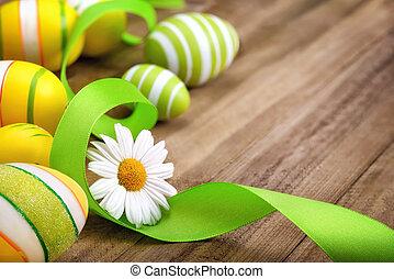 Neat Easter arrangement on wood