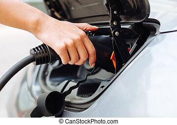 Neat female hands charging an e-car
