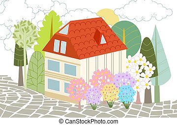 neat house with trees and flowering bushes around for your desig