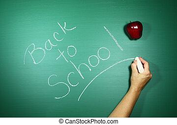 Neatly Back to School Written in Chalk on a Green Blackboard