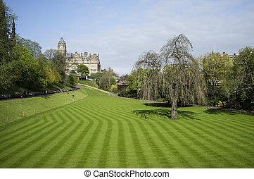 Edinburgh - Neatly cut lawn of Princes Street Gardens in...