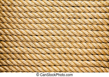 Neatly organised parallel strands of rope