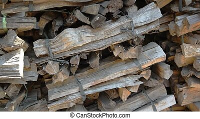 Neatly Stacked Bundles of Firewood for Cremation Ceremony in...