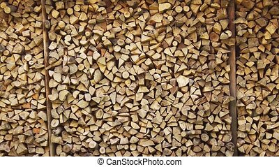 Neatly Stacked Supply of Firewood. Video 1080p - Big ...