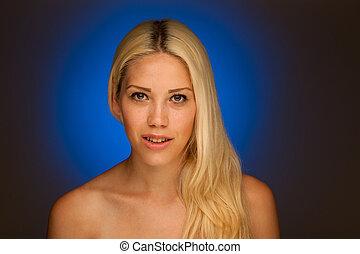 neauty, porträt, von, reizend, blond, frau