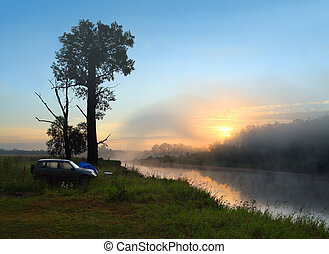 nebbia, alba, su, il, fiume
