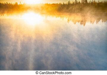 nebbia, creeps, sopra, fiume, su, sole sorgente, fondo
