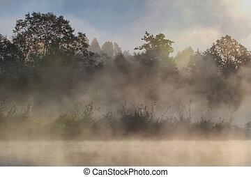 nebbia, e, sole, su, il, fiume