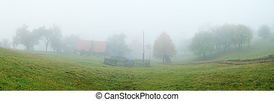 nebbia, in, il, villaggio