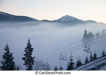 nebbia, sopra, il, montagne