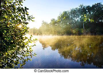 nebbia, su, fiume