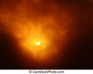nebbia, su, il, sole