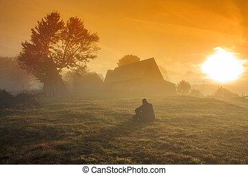 nebbioso, alba, paesaggio, mattina