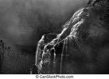 nebbioso, cascata, montagne blu
