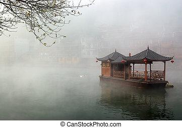 nebbioso, fiume, porcellana, barca, paesaggio